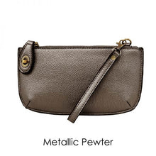 Load image into Gallery viewer, metallic pewter leather clutch on a white background
