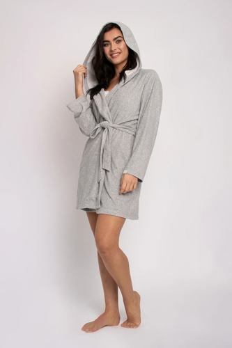 model in a mid thigh length grey robe with a hood