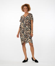 Load image into Gallery viewer, model wearing an animal print dress in front of a white background