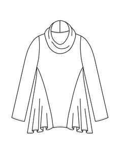 drawing of a pull over top with a cowl top and full godets on the sides