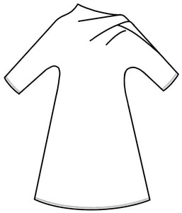 drawing of a dress with an asymmetrical sleeve and neckline