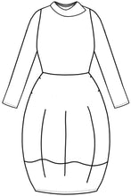 Load image into Gallery viewer, drawing of a dress with a rounded skirt and an asymmetrical collar