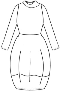 drawing of a dress with a rounded skirt and an asymmetrical collar