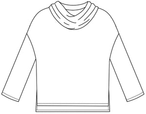 drawing of a boxy top with a cowl neck and a dropped shoulder seam