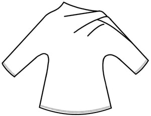 drawing of a top with an asymmetrical neckline and a 3/4 sleeve