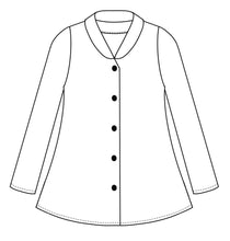 Load image into Gallery viewer, drawing of a button up blouse with a short standing collar