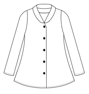 drawing of a button up blouse with a short standing collar