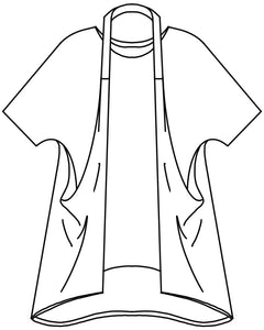 flat drawing of the a top with a halter style strap