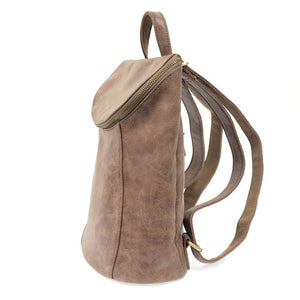 side view earth color backpack purse