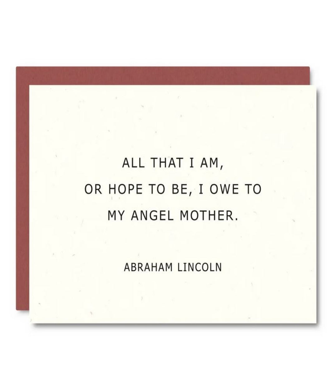 Pictured against a white background is a white card with text that quotes Abraham Lincoln. It says,