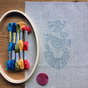 multicolor bird embroidery kit