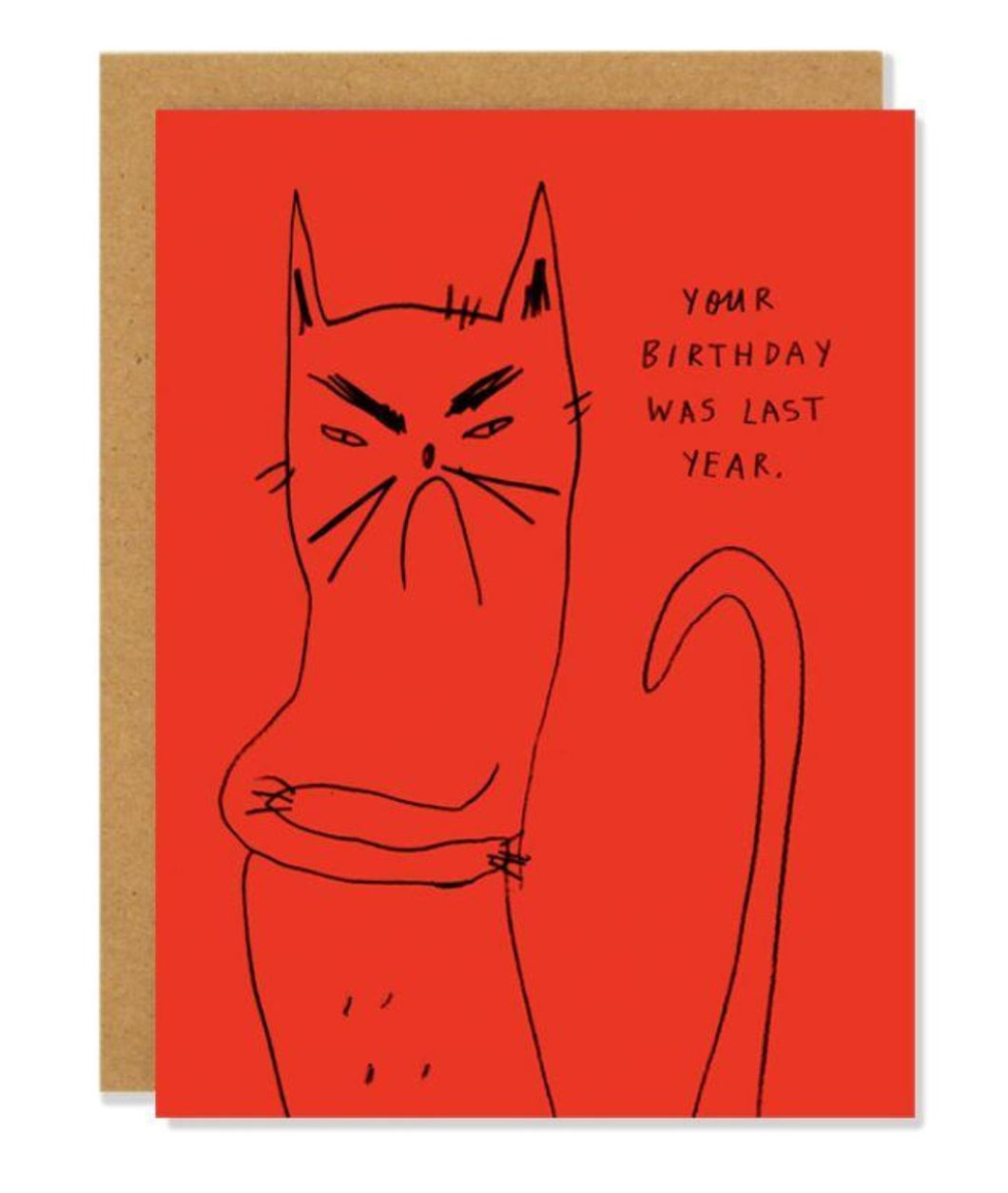 Pictured against a white background is a brown envelope with red card on it. The card has a simple line drawing illustration of a frowning cat with his arms crossed on it. On the upper right hand of the card, there is text written that says