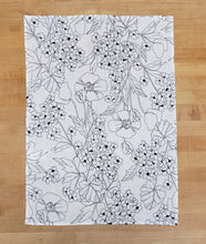 Load image into Gallery viewer, black and white floral print dish towel on a wood background