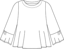 Load image into Gallery viewer, drawing of a top with a full, flowy body and 3/4 sleeves with a wide ruffle