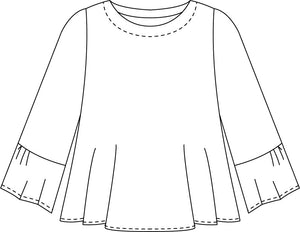 drawing of a top with a full, flowy body and 3/4 sleeves with a wide ruffle