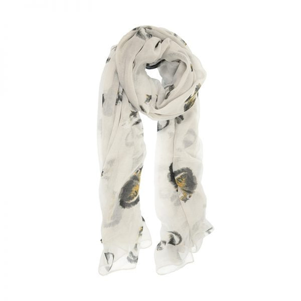 light scarf with various cats printed on it