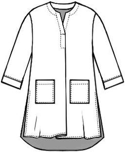 flat drawing of a top with front pockets