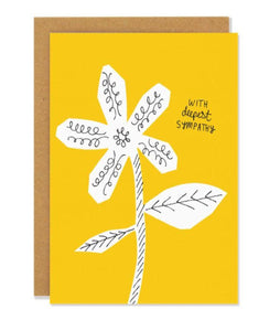 "Pictured against a white background is a brown envelope with a yellow card in front of it. The card has a simple line drawing of a flower with the words ""with deepest sympathy"" written on the right handside."