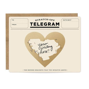 card with an old fashioned telegram design and a heart with text