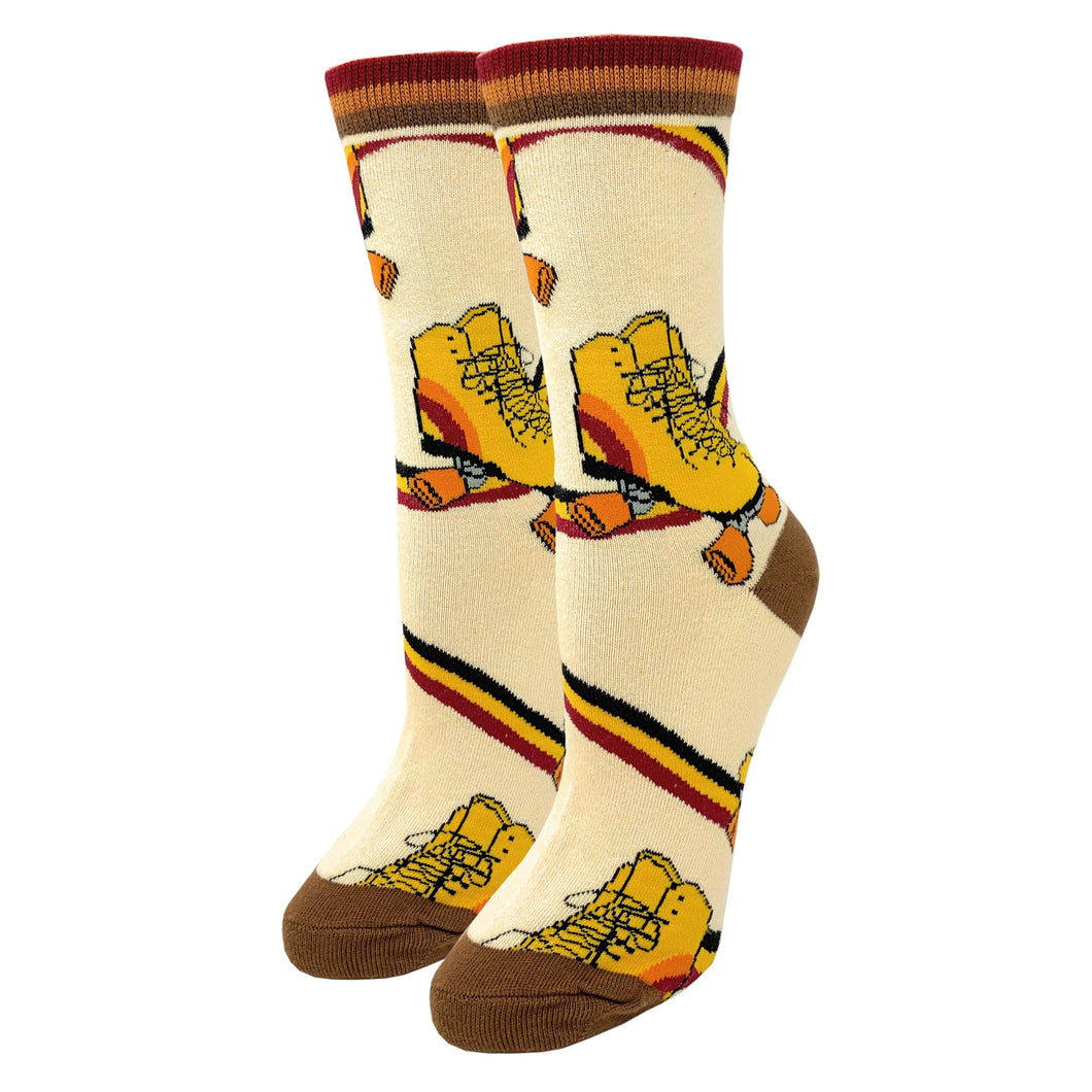 A vintage styled sock with old school roller skates and rainbow stripes printed all over