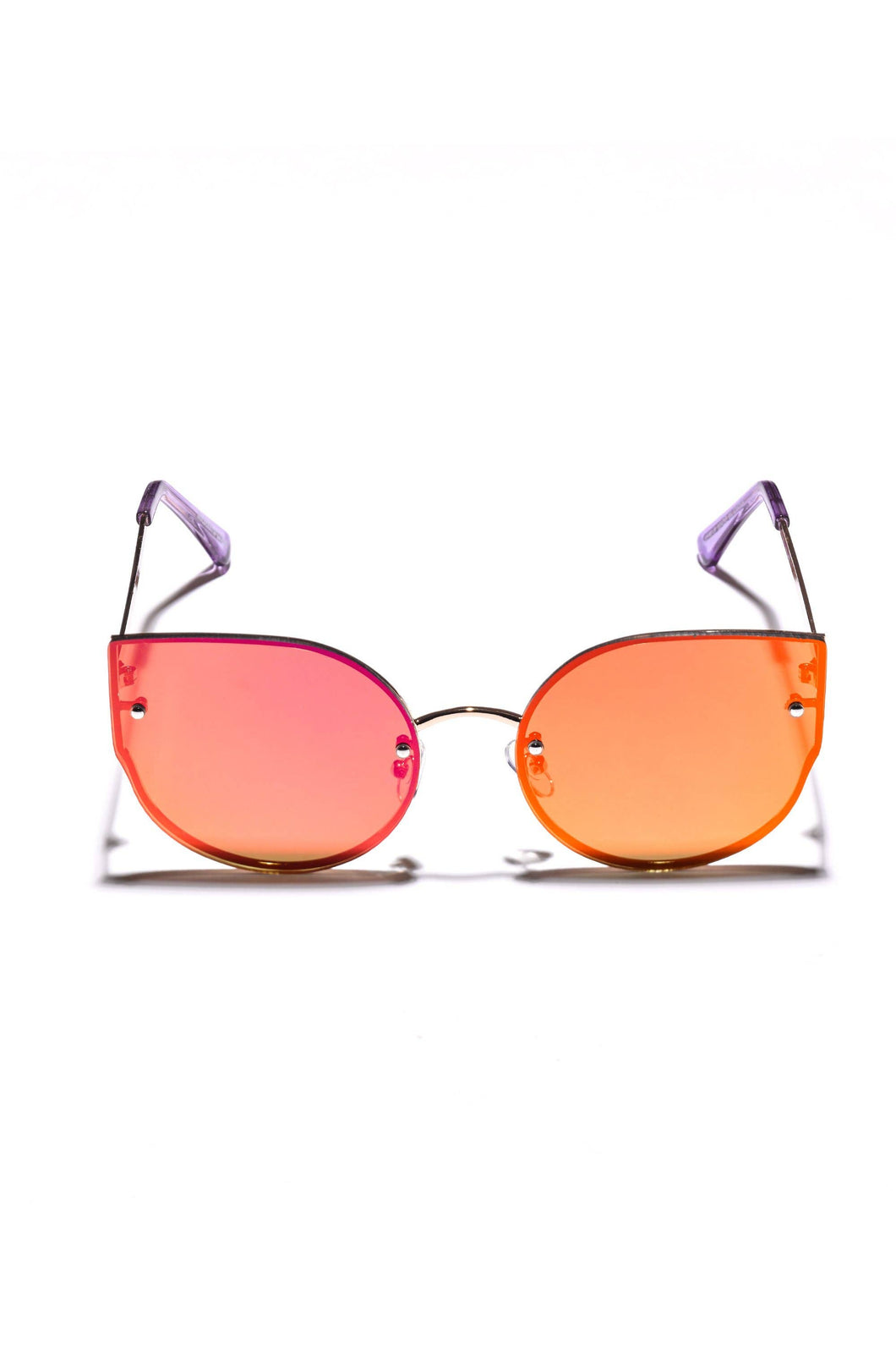 frameless cat eye sunglasses with a pink and orange tinted lens