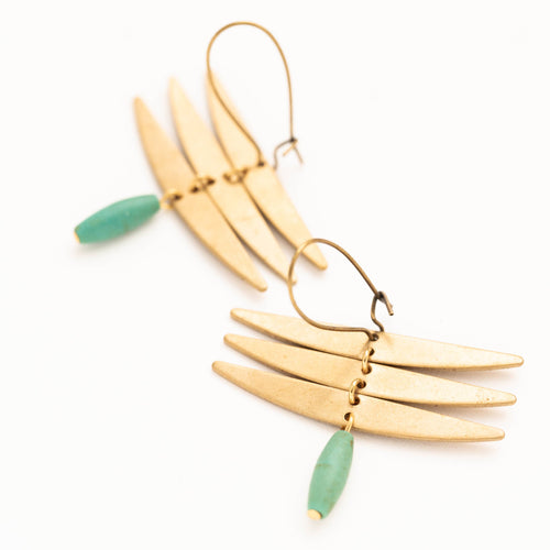 Brass earrings with abstract dragonfly shape and turquoise drop bead