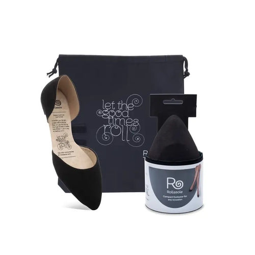 black pointed flat with a carrying case and the mate shoe in compact packaging