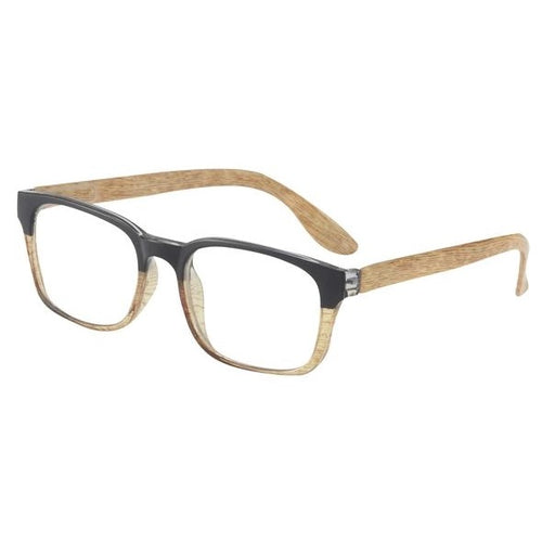 a wood grain pair of eyeglasses with a black brow
