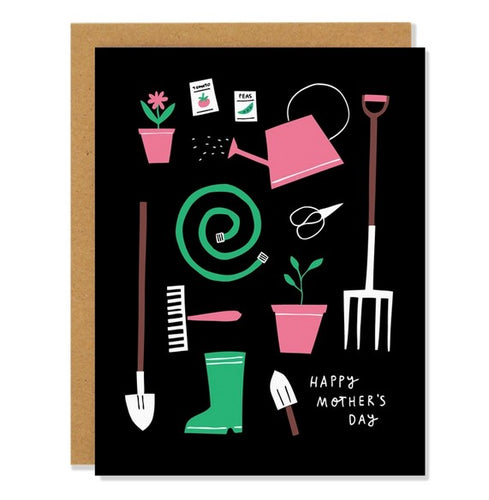 Greeting card with garden tools against a black background.