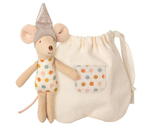 small fairy mouse pllush with a tooth shaped pouch for tooth fairy collections