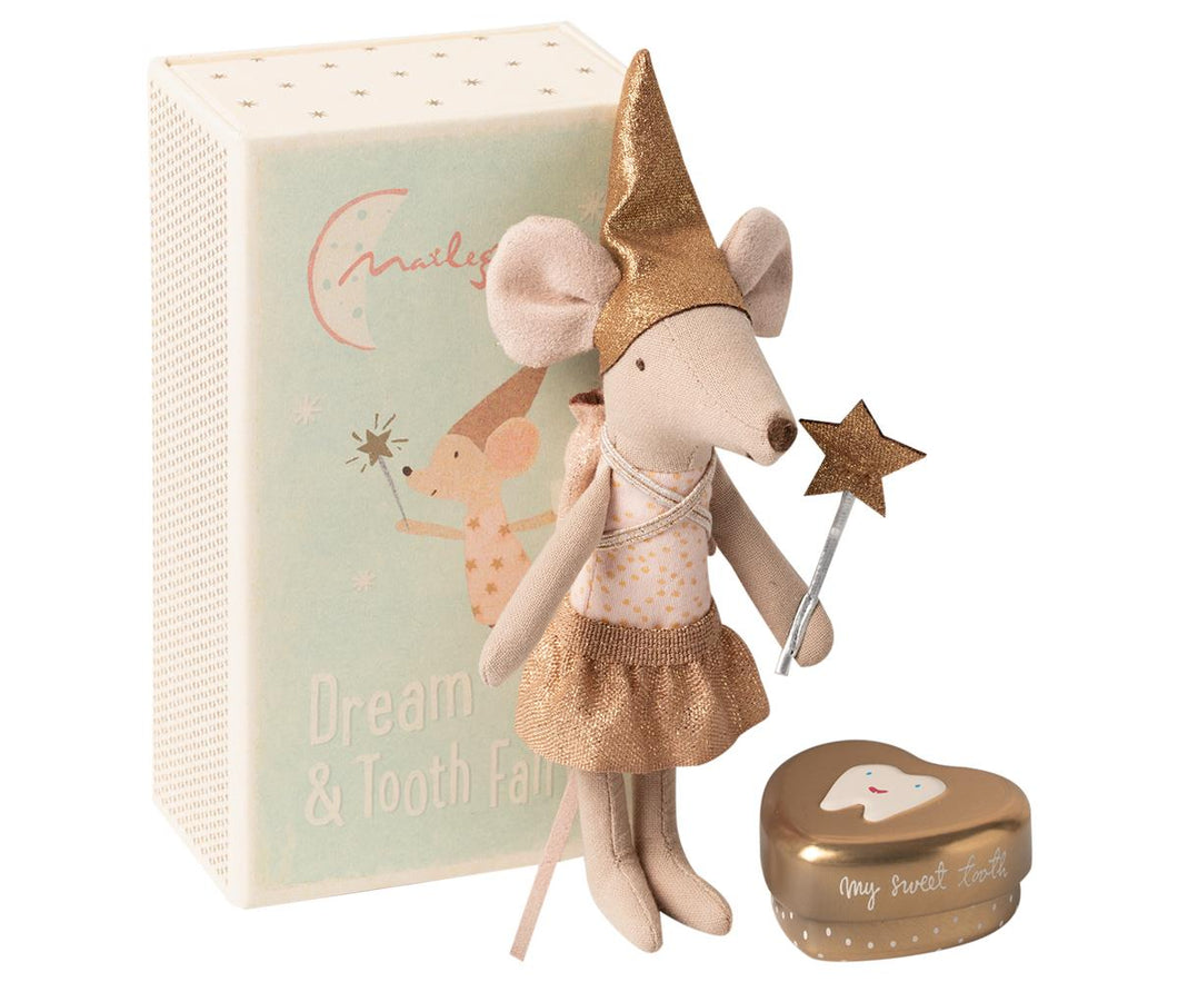 small mouse plush with a giant matchbox style sortage box. mouse has a metallic gold skirt, hat, wand and storage box for teeth and is wearing a pink dotted shirt