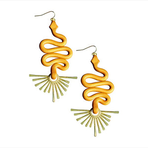 gold snake shaped earrings with a gold fan shape at the bottom