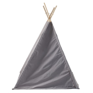 back of grey tent