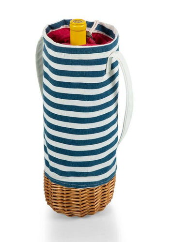 Blue and white striped, insulated wine tote featuring a weaved wicker base against a white backdrop. The red interior features a drawstring closure and a wine bottle.