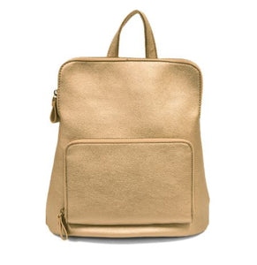 Pictured against a white background is a small, pleather metallic gold backpack with a small, zip-top front compartment.