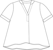 Load image into Gallery viewer, illustration of a pullover boxy top with a vneck, small rolled sleeves and a curved bottom hem