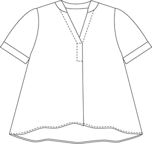 illustration of a pullover boxy top with a vneck, small rolled sleeves and a curved bottom hem