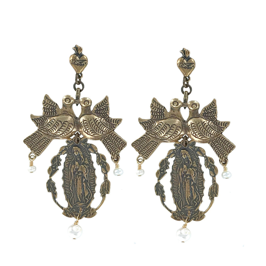 large brass earrings featuring a set of doves and virgen de guadalupe