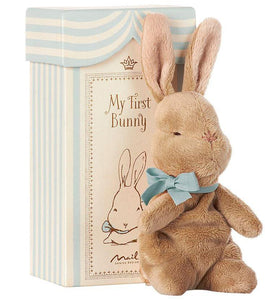 "Baby blue and white striped decorative box in the background that says, ""My first Bunny"" on it with a small, plush stuffed bunny in front of it. The bunny is wearing a baby blue bow and is pictured in front of a white background."