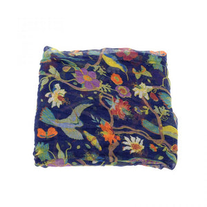 blue scarf with colorful birds all over