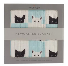 Load image into Gallery viewer, grey box containing blanket with print of black and white cats and white and aqua squares