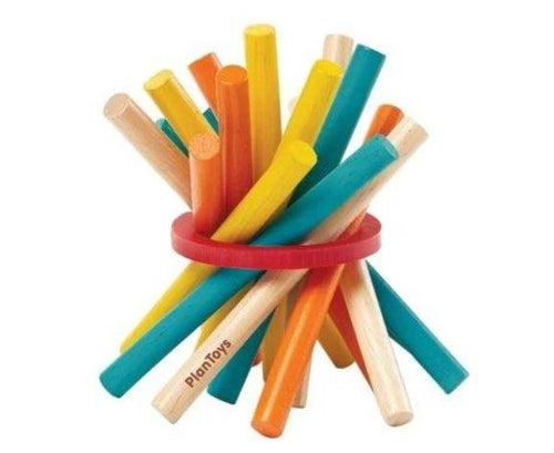 Pictured against a white background are various differently colored sticks with a red band around it.
