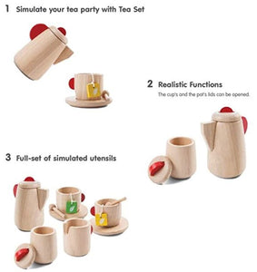 "Infographic that says, ""1. Stimulate your tea party with Tea set. 2. Realistic Functions The cups and the pots lids can be opened. 3. Full set of simulated utensils"""