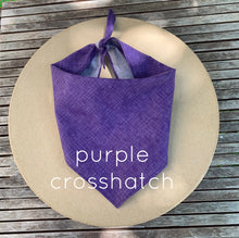 Load image into Gallery viewer, Pictured against a cardboard circle, is a purple dog bandana.