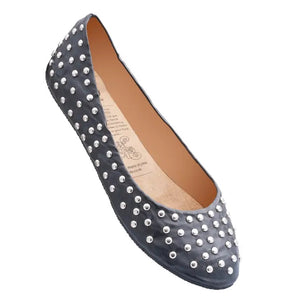 black ballet flat with silver studs