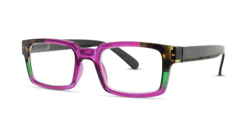 Pictured against a white background is a pair of multicolored readers. The frames are colored mostly purple, with tortoise shell, and an accent of green. The legs are black.