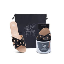 Load image into Gallery viewer, black sandle with gold studs, with a carrying case and the mate shoe in compact packaging