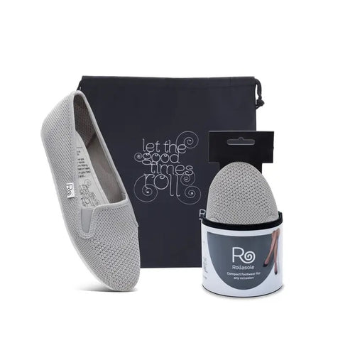 grey sneaker with a carrying case and matching show in small packaging