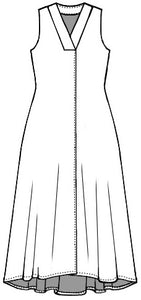 flat drawing of a dress with a thick v-neck and a center front seam that splits in to a small slit at the bottom