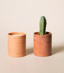 Two terra cotta vessels with the left holding a candle and the right, a cactus which has been potted in the terra cotta vessel for reuse